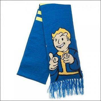 Fallout 4 Vault-Tec 111 Costume Cosplay Knit Acrylic Fringe Jacquard Scarf 6.8ft