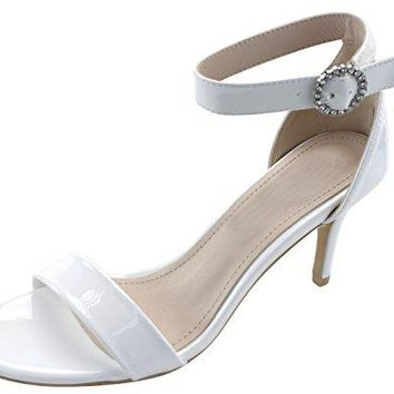 Cambridge Select Womens Single Band Crystal Rhinestone Buckle Ankle Strap Stiletto Mid Heel Open Toe Dress Sandal
