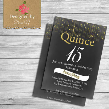 Quinceañero invitation, Quince años, gold and black party printable, español and English Invite, Sweet Sixteen, Any Age Invite