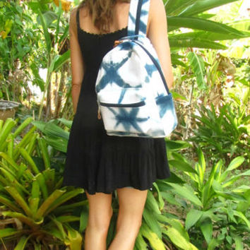 Indigo Blue Shibori Tie Dye Backpack Rucksack Daypack Bag Surfer Travel Boho | eBay