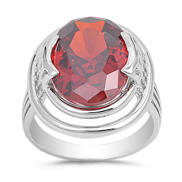 Sterling Silver CZ Simulated Garnet Designer Solitaire Ring 22MM