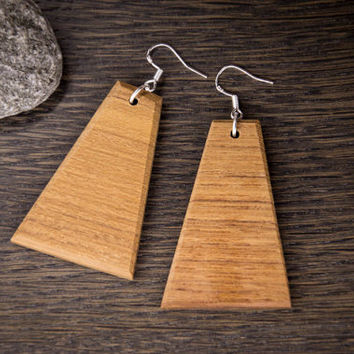 Teak Wood Earrings, Dangle Earrings, Wood Earrings, Wood Dangle Earrings, Natural Wood, Unique Earrings, Wooden Earrings, Bohemian Earrings