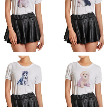 Women Dog hand painted watercolor Printed T-shirt WTS_07