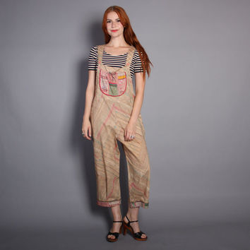 80s PRINTED Cotton OVERALLS / Loose Fit Slouchy Jams World JUMPSUIT