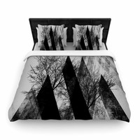 "Pia Schneider ""TREES V2"" Black White Gray Woven Duvet Cover"