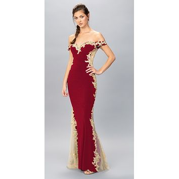 Burgundy/Gold Off-Shoulder Long Prom Dress with Lace Trim