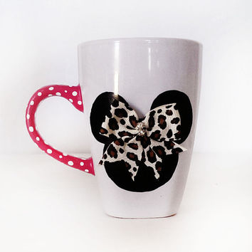 minnie mouse coffee mug - leopard bow - pink handle with polka dots