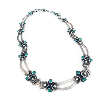 Taxco Sterling Necklace, Turquoise Stone, Mexican Jewelry, Taxco Mexico, Silver Necklace, Antique Jewelry