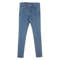 Scratched Skinny Jeans with Snap Button Closure