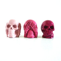 hear no evil skull set, pink ombre, punk, teen decor, goth, small skull heads, skull art