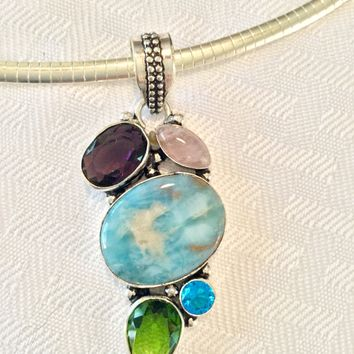 Larimar, amethyst and peridot sterling silver pendant
