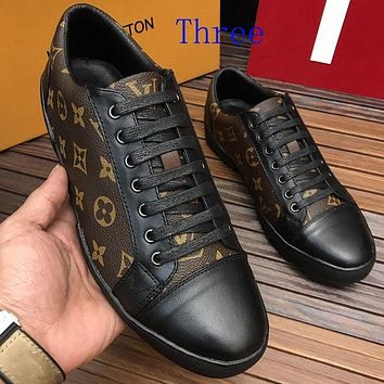 LV Louis Vuitton Man Women Fashion Print Sport Casual Low Help Board Shoes I