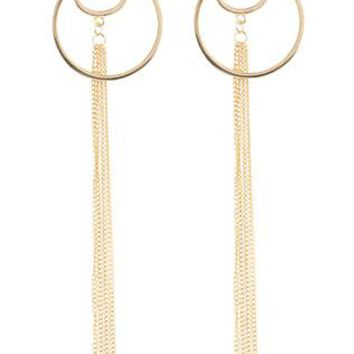 Long Chain Tassel Metal Crescent Ring Post Pin Earrings