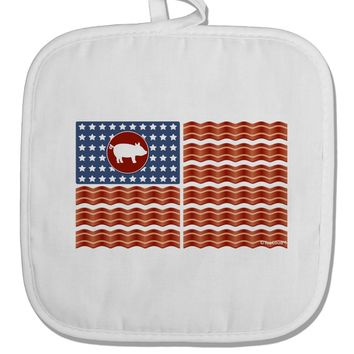 American Bacon Flag White Fabric Pot Holder Hot Pad