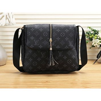 LV Fashion Women's Full Print Shopping Bag Single Shoulder Bag LV pattern black