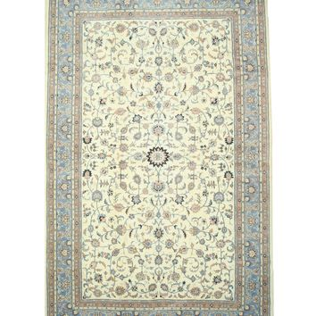 EORC Hand-knotted Wool Ivory Traditional Oriental Kashan Rug