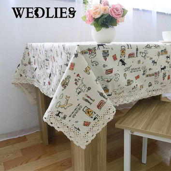 Linen Table Cloth with Lace Cat Plane London Style Towel Decorative Elegant Table Cover for Dinner Table 6 Size Home Textile