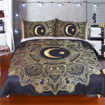 3 Pcs Gold Mandala Flowers Star Moon Duvet Cover Black Dark Blue Bedding Set Soft Quilt Cover Single Bed Cover