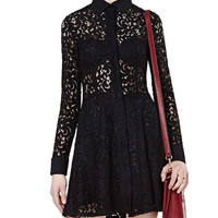 Black Long Sleeve Lace Mesh Mini Dress With Lapel Collar