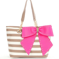 Betsey Johnson Striped Bow-Lette Tote | Dillards
