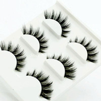 3pcs/lot 100% handmade real mink fur false eyelash 3D strip mink lashes thick fake faux eyelashes Makeup beauty False Eyelash