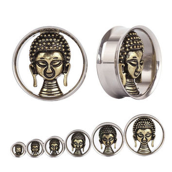 Swan Jo Buddah Face Copper Ear Plugs and Tunnels Earrings Ear Expander Ear Gauges Plugs Pircing  Body Piercing Jewelry