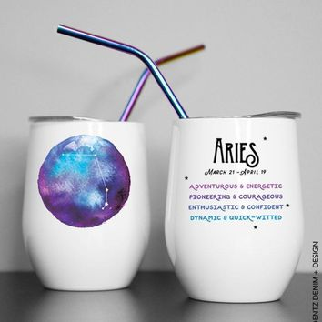 Astrological Watercolor Zodiac Sign - Wine Tumblers