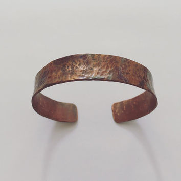 Copper heat patina cuff hammered bangle bracelet rustic recycled reused healing joints