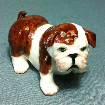 Miniature Ceramic Dog Bulldog Animal Funny Cute Little Tiny Small Brown White Figurine Statue Decoration Collectible Hand Painted Figure