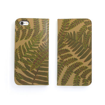 Leather Folio Phone Case - Woodland Fern
