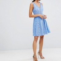 Oasis Lace Mini Skater Dress at asos.com