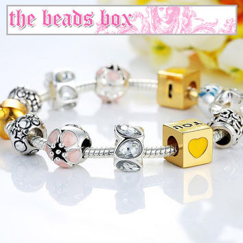 PA1443 I Love You Charm Bracelet 925 Sterling Silver Murano Glass & Crystal Beads + Free Shipping