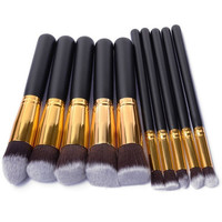 Pro Makeup Blush Eyeshadow Blending Set Concealer Cosmetic Make Up Brushes Tool Eyeliner Lip Brushes 10Pcs + Free Shipping