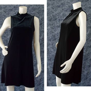 Black Velvet Dress, 90s Black Goth Sleeveless Dress, Little Black Dress, Black Witchy Dress, Mock Turtleneck Dress, Women's Size Medium
