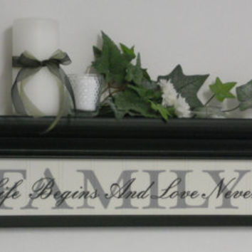 "Shabby Chic Home Decor Shelf 30"" Black with Verse - FAMILY - Where Life Begins And Love Never Ends"