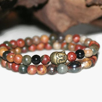 Picasso Jasper Bracelet Set, Yoga Jewelry, Man Gift, Holiday Gift Idea, Buddha Jewelry, Mantra Bracelet, Spiritual and Meditation