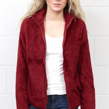Snuggled Up Fleece Sherpa Jacket {Burgundy}