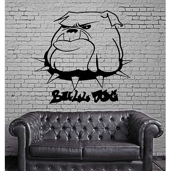 Cartoon Bull Dog Collar Portrait Animal Decor Wall Mural Vinyl Art Sticker Unique Gift M472