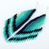 Dangle Long Earrings. Native American Earrings Inspired. Ombre Earrings. Mint, Blue, White, Black,Teal Earrings. Beadwork