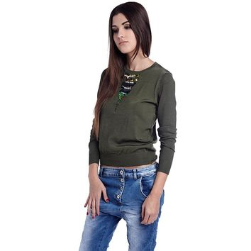 Green embellished sweater