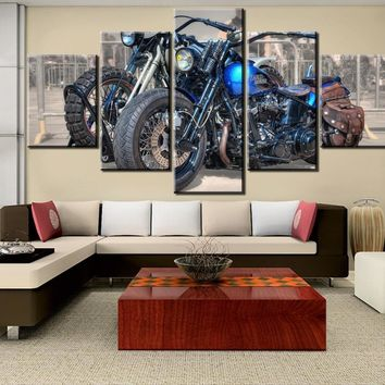 5 Pieces HD Print Painting Motorcycle Painting Canvas Wall Art Picture Home Decoration Living Room Canvas Painting Decor