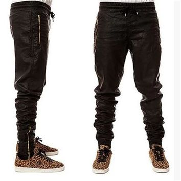 New Kanye west Hip Hop big and tall Fashion zippers jogers Pant Men Black Joggers dance urban Clothing Mens faux leather Pants