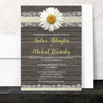 Daisy Wedding Invitations - Rustic Burlap and Lace - Yellow White and Beige with Brown Wood - Printed Invitations
