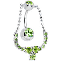 Light Green Gem Glamorous Jewel Necklace Belly Ring | Body Candy Body Jewelry