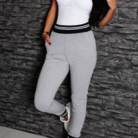 Kadie Grey Elasticated Pocket Lounge Pants | Pink Boutique