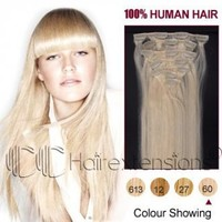 18 inch White Blonde(#60) Clip in Hair Extensions 120g