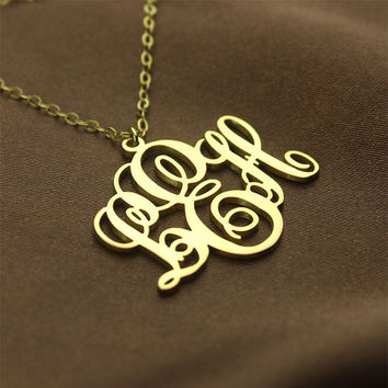 Personalized Monogram Necklaces Name Jewelry 18k Gold Plated Monogram Jewelry Custom 3 initials Monogrammed Nameplate Necklace