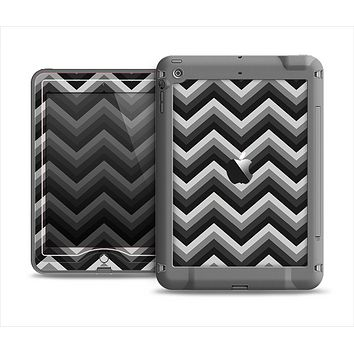 The Black Grayscale Layered Chevron Apple iPad Mini LifeProof Nuud Case Skin Set