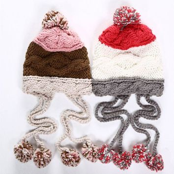 ICIKH3L Cute Casual Multicolor Tassel Hairball Manual Knit Beanie Hat Winter Accessories