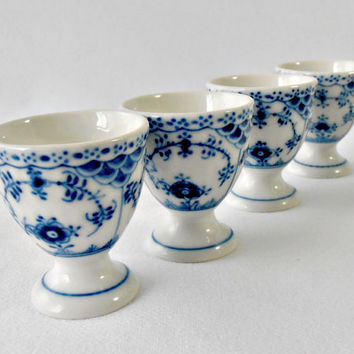 Vintage Royal Copenhagen Denmark Egg Cups 542, Set of 4 Blue Fluted Half Lace 1950s Collectible Egg Cup, Hand Painted Blue & White Porcelain